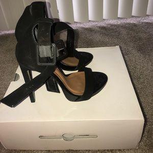 ALDO double strap heels. Black suede size 37.5